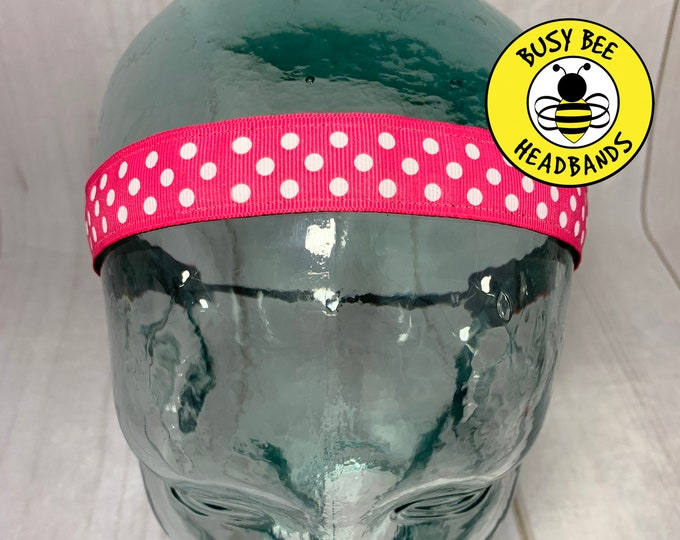 "7/8"" PINK POLKA DOT Headband / Adjustable Nonslip Headband / Button Headband Option by Busy Bee Headbands"