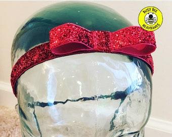 """5/8"""" RED BOW SPARKLE Headband / Red Bow Headband / Princess Headband / Adjustable Nonslip Headband / Button Headband Option by Busy Bee"""