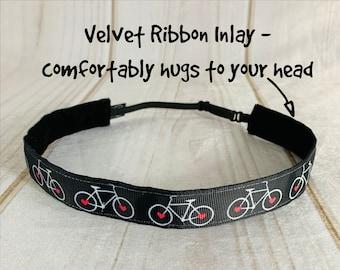 "7/8"" BICYCLE Headband / Gift for Cyclists / BIKE Headband / Adjustable Nonslip Headband / Button Headband Option by Busy Bee Headbands"