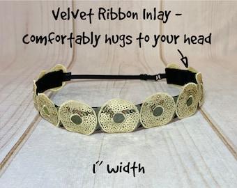 "1.25"" GOLD SEQUINS Headband / Sparkle Bling Headband / Adjustable Nonslip Headband / Button Headband Option by Busy Bee Headbands"