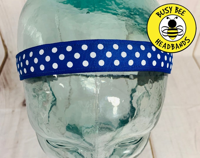 "7/8"" BLUE POLKA DOT Headband / Adjustable Nonslip Headband / Button Headband Option by Busy Bee Headbands"