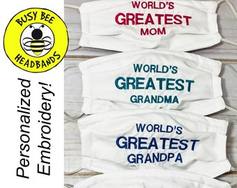 Father's Day Mask Mother's Day Mask / 'WORLD'S GREATEST' Face Masks / Mom Dad Granddad Grandpa / Custom Face Mask/ Personalized Mask