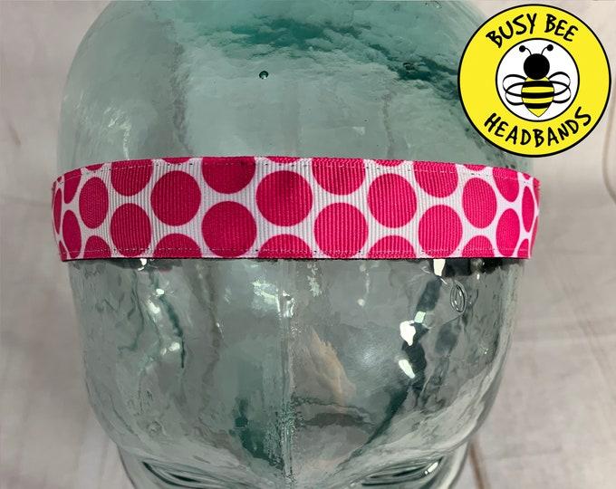 """7/8"""" Big PINK POLKA DOTS Headband / Adjustable Nonslip Headband / Button Headband Option by Busy Bee Headbands"""