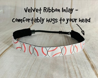 "7/8"" BASEBALL Headband / Baseball Lover Headband / Softball Adjustable Nonslip Headband / Button Headband Option by Busy Bee Headbands"