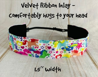 "1.5"" UNICORN Headband / Gift for Tween / Adjustable Nonslip Headband / Button Headband Option by Busy Bee Headbands"