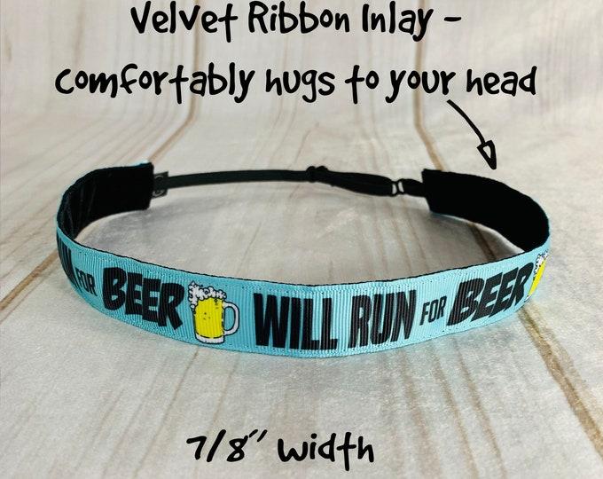 "7/8"" Will RUN FOR BEER Headband / Race Day Headband / Adjustable Nonslip Headband / Button Headband Option by Busy Bee Headbands"