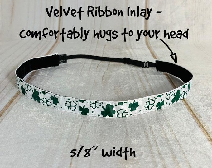 "5/8"" SHAMROCK Headband / St. Patty's Day Headband / Lucky Clover Adjustable Nonslip Headband / Button Headband Option by Busy Bee Headbands"