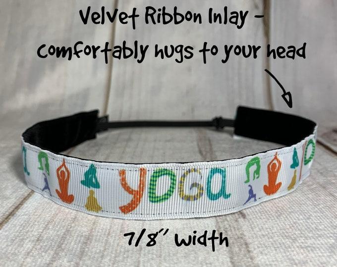 "7/8"" YOGA Headband / Fitness Headband / Adjustable Nonslip Headband / Button Headband Option by Busy Bee Headbands"