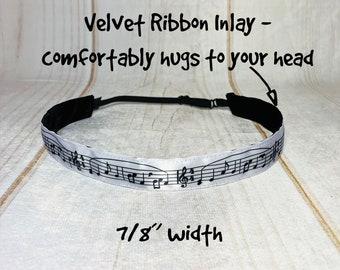 "7/8"" MUSIC NOTES Headband / Gift for Music Lover / Marching Band Gift Idea / Nonslip Headband / Adjustable Headband /"