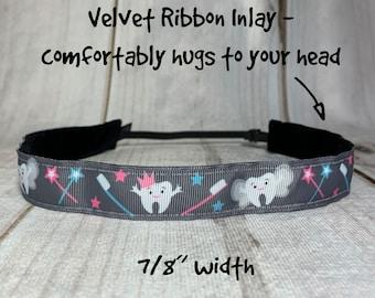"7/8"" HAPPY TEETH Headband / Dentist Headband / Hygienist Headband / Orthodontist Headband / Adjustable Nonslip Headband / Button Option"