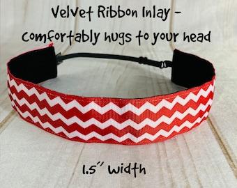 "1.5"" RED CHEVRON Headband / Adjustable Nonslip Headband / Button Headband Option by Busy Bee Headbands"