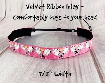 "7/8"" TENNIS Headband / Fitness Headband / Adjustable Nonslip Headband / Button Headband Option by Busy Bee Headbands"