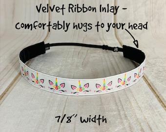 "7/8"" UNICORN Headband / Fantasy Unicorn Lover Gift / Adjustable Nonslip Headband / Button Headband Option by Busy Bee Headbands"