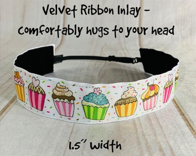 "1.5"" Cupcake Headband / Gift for Cupcake Lover / Adjustable Nonslip Headband / Button Headband Option by Busy Bee Headbands"
