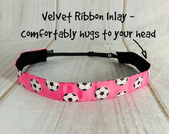 "7/8"" PINK SOCCER Headband / Gift for Soccer Player / Adjustable Nonslip Headband / Button Headband Option by Busy Bee Headbands"