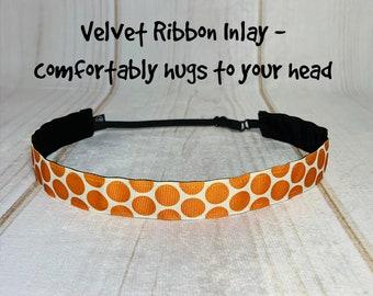 """7/8"""" Big ORANGE POLKA DOT Headband / Adjustable Nonslip Headband / Button Headband Option by Busy Bee Headbands"""
