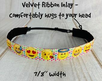 """7/8"""" EMOJI Headband / Gift for Tween / Adjustable Nonslip Workout Headband / Button Headband Option by Busy Bee Headbands"""