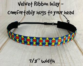 "7/8"" PUZZLE Headband / AUTISM AWARENESS Headband / Adjustable Nonslip Headband / Button Headband Option by Busy Bee Headbands"