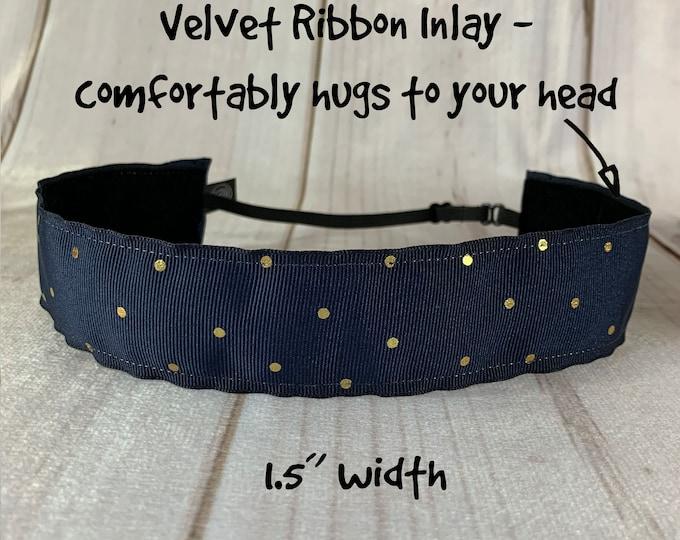 "1.5"" NAVY GOLD DOTS Headband / Adjustable Nonslip Headband / Button Headband Option by Busy Bee Headbands"