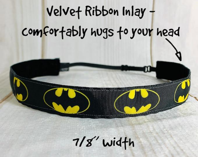 "7/8"" BATMAN Headband / Super Hero Headband / Adjustable Nonslip / Workout Fitness Running Headband / Button Headband Option by Busy Bee"
