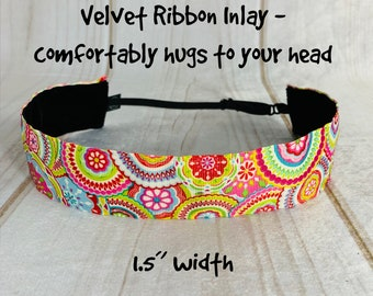 "1.5"" SPRING BLOOM Floral Headband / Wide Headband / Adjustable Nonslip Headband / Button Headband Option by Busy Bee Headbands"