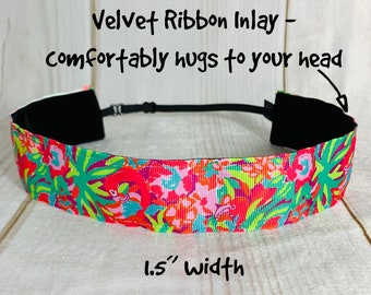 "1.5"" FLAMINGO PALM TREES Lulu Lilly Inspired Floral Headband / Adjustable Nonslip Headband / Button Headband Option by Busy Bee"