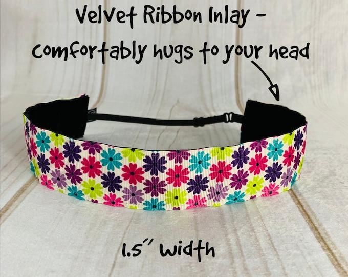 "1.5"" DAISY FLOWER Headband / Running Fitness Headband / Adjustable Nonslip Headband / Button Headband Option by Busy Bee Headbands"