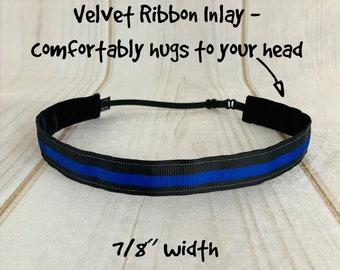 "7/8"" THIN BLUE LINE Headband / Police Officer Public Safety / Adjustable Nonslip Headband / Button Headband Option by Busy Bee Headbands"