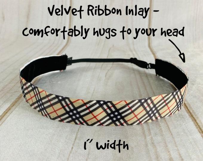 "1"" Black Red Tan STRIPE Headband / Adjustable Nonslip Headband / Fashion Stylish Headband / Button Headband Option by Busy Bee Headbands"