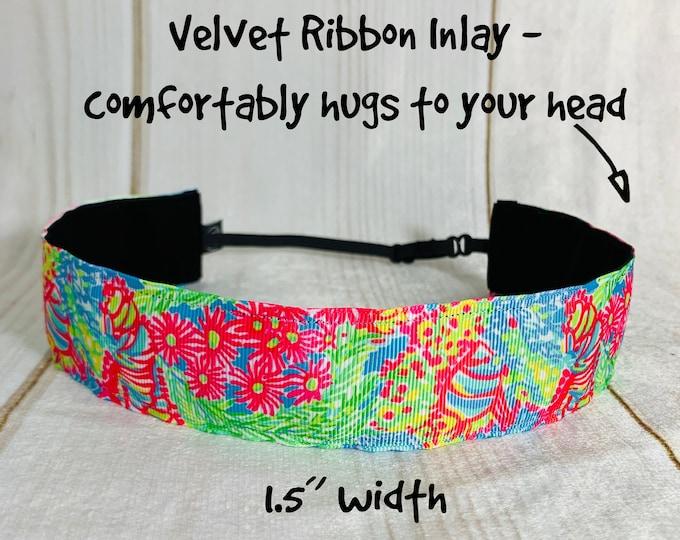 "1.5"" LOVERS CORAL Lilly Inspired Floral Headband / Adjustable Nonslip Headband / Button Headband Option by Busy Bee Headbands"