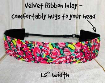 "1.5"" WILD CONFETTI Lilly Inspired Floral Headband / Adjustable Nonslip Headband / Button Headband Option by Busy Bee Headbands"