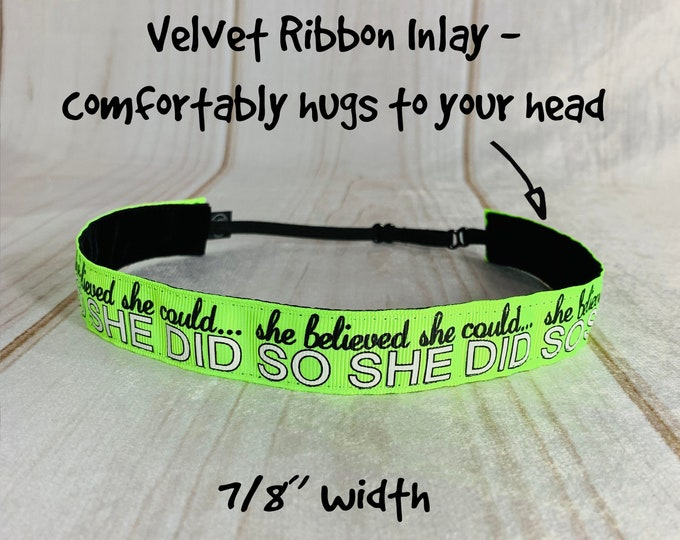 "7/8"" Neon Green SHE BELIEVED Inspirational Headband / Running / Adjustable Nonslip Headband / Button Headband Option by Busy Bee Headbands"