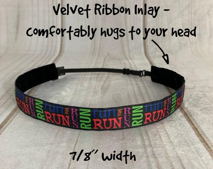 "7/8"" RUN Headband / Workout Fitness Runners Headband / Adjustable Nonslip Headband / Button Headband Option by Busy Bee Headbands"