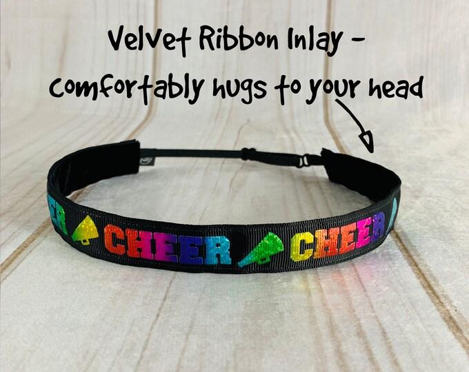 """7/8"""" CHEER Headband / CHEERLEADER Headband / Adjustable Nonslip Headband / Button Headband Option by Busy Bee Headbands"""