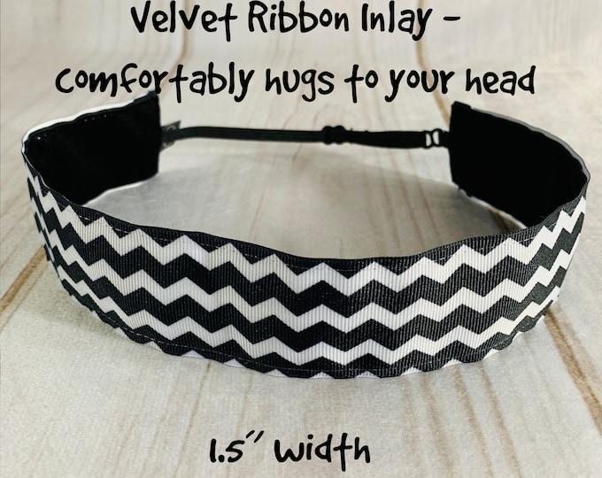 """1.5"""" BLACK CHEVRON Headband, Adjustable Nonslip Headband, Fitness Headband, Running Headband, Wide Headband, Button Headband Option"""