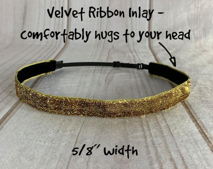 "3/8"" or 5/8"" GOLD SPARKLE Headband / Glitter Headband / Adjustable Nonslip Headband / Button Headband Option by Busy Bee Headbands"