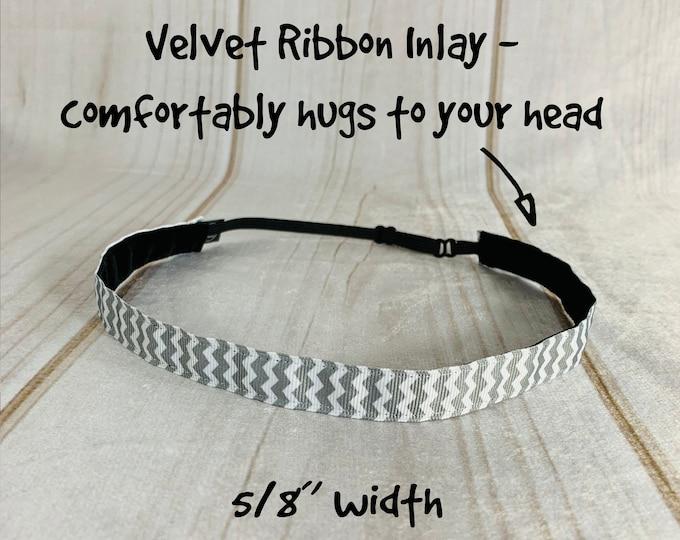 """5/8"""" GRAY & WHITE CHEVRON Headband / Adjustable Nonslip Headband / Workout Headband / Button Headband Option by Busy Bee Headbands"""