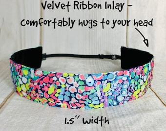 "1.5"" GYPSY JUNGLE Lilly Inspired Floral Headband / Adjustable Nonslip Headband / Button Headband Option by Busy Bee Headbands"
