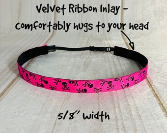 "Button Headband for Mask 5/8"" PINK SKULLS Headband /  / Nonslip Headband / Adjustable Workout Headband / Skull Cross Bone Pirate /"