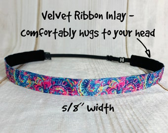 "5/8"" PSYCHEDELIC SUNSHINE Lilly Inspired Floral Headband / Adjustable Nonslip Headband / Button Headband Option by Busy Bee Headbands"