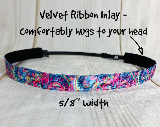 "5/8"" PSYCHEDELIC SUNSHINE Lilly Inspired Floral Headband / Adjustable Nonslip Headband / Button Headband Option by Busy Bee Headbands"