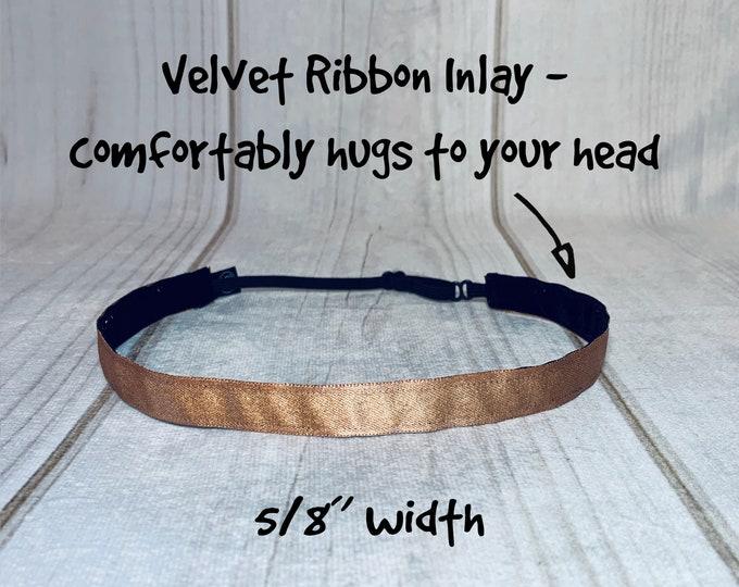 "7/8"" ROSE GOLD METALLIC Headband / Rose Gold Headband / Adjustable Nonslip Headband / Button Headband Option by Busy Bee Headbands"