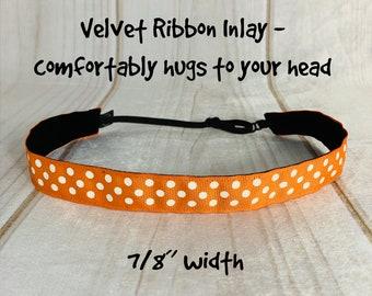 "7/8"" ORANGE POLKA DOT Headband / Adjustable Nonslip Headband / Button Headband Option by Busy Bee Headbands"