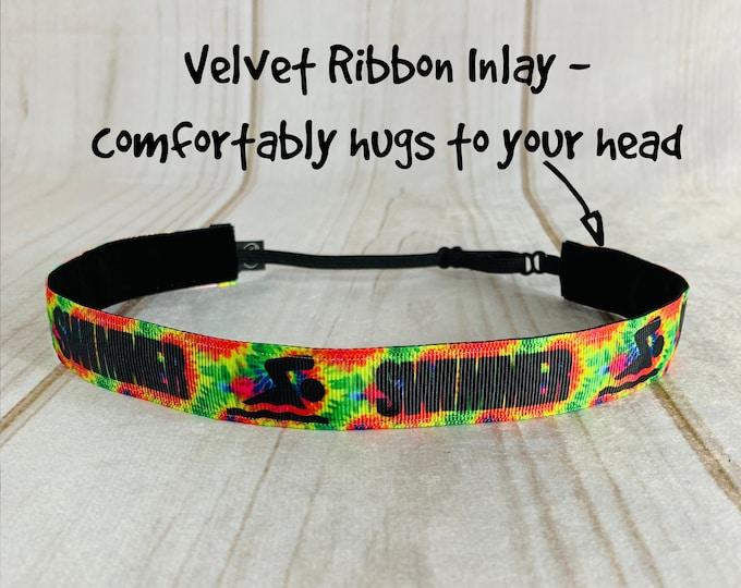"7/8"" SWIMMER Headband / Swim Headband / Fitness Workout / Adjustable Nonslip Headband / Button Headband Option by Busy Bee Headbands"
