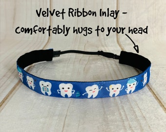 "7/8"" TOOTH Headband / Gift for Dentist Hygientist Othodontist / Adjustable Nonslip Headband / Button Headband Option by Busy Bee Headbands"