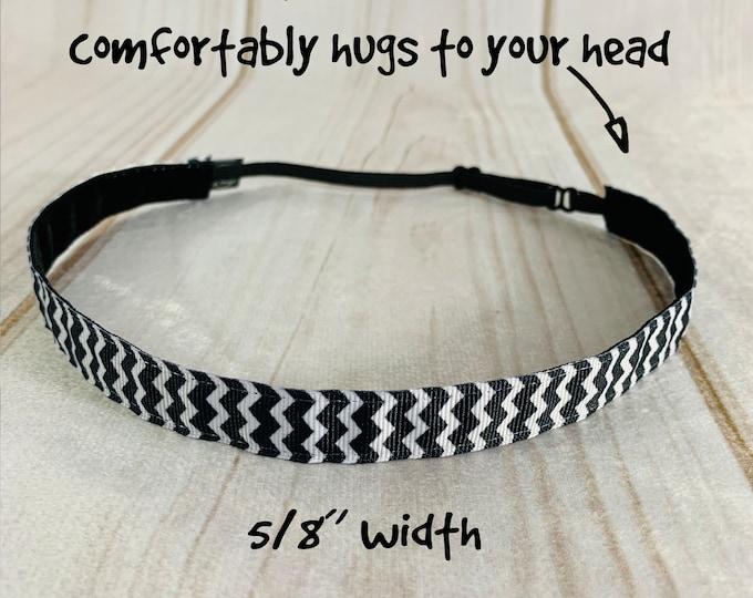 "5/8"" BLACK & WHITE CHEVRON Headband / Adjustable Nonslip Headband / Workout Headband / Button Headband Option by Busy Bee Headbands"