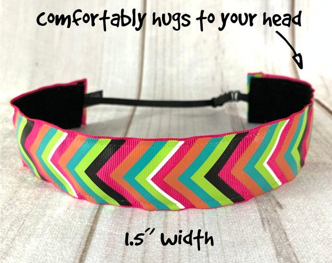 "1.5"" VIBRANT CHEVRON Headband / Adjustable Nonslip Headband / Button Headband Option by Busy Bee Headbands"