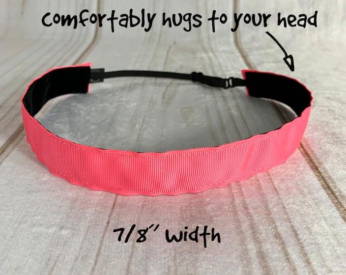"7/8"" SOLID PINKS Headband / Bubble Gum Neon Fuchsia / Adjustable Nonslip Headband / Button Headband Option by Busy Bee Headbands"