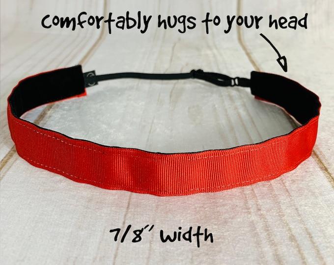 "7/8"" SOLID RED Headband / Workout Headband / Adjustable Nonslip Headband / Button Headband Option by Busy Bee Headbands"