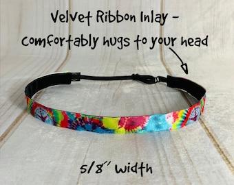 """5/8"""" TIE DYE Headband / Tween Headband / Adjustable Nonslip Headband / Button Headband Option by Busy Bee Headbands"""